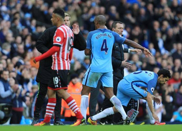 Manchester City i matchen mot Southampton.