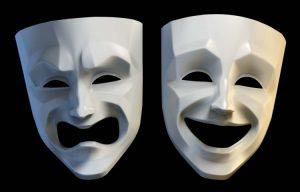 bild på två teatermasker