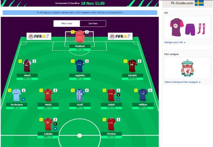 Fantasy Premier League Round 12